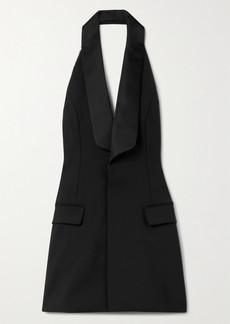 Area Crystal-embellished Satin-trimmed Woven Halterneck Mini Dress