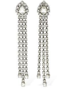 Area Crystal Fringe Drop Earrings