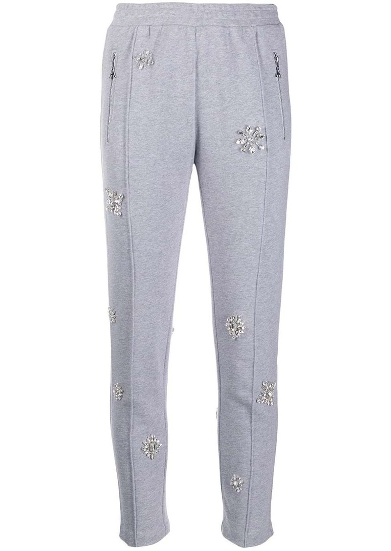 Area embellished cropped track trousers