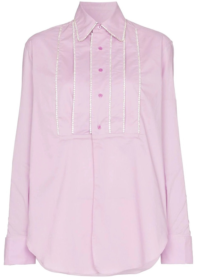 Area embellished tucks tailored shirt