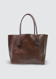 Area Bedford Tote Bag In Brown Woven Leather