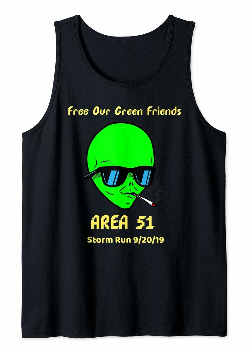 Funny Area 51 5k Fun Run Green Friends Tank Top