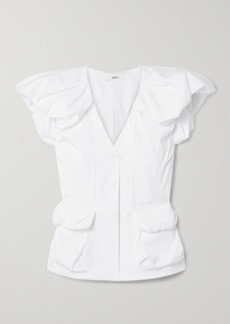 Area Gathered Cotton-blend Poplin Top