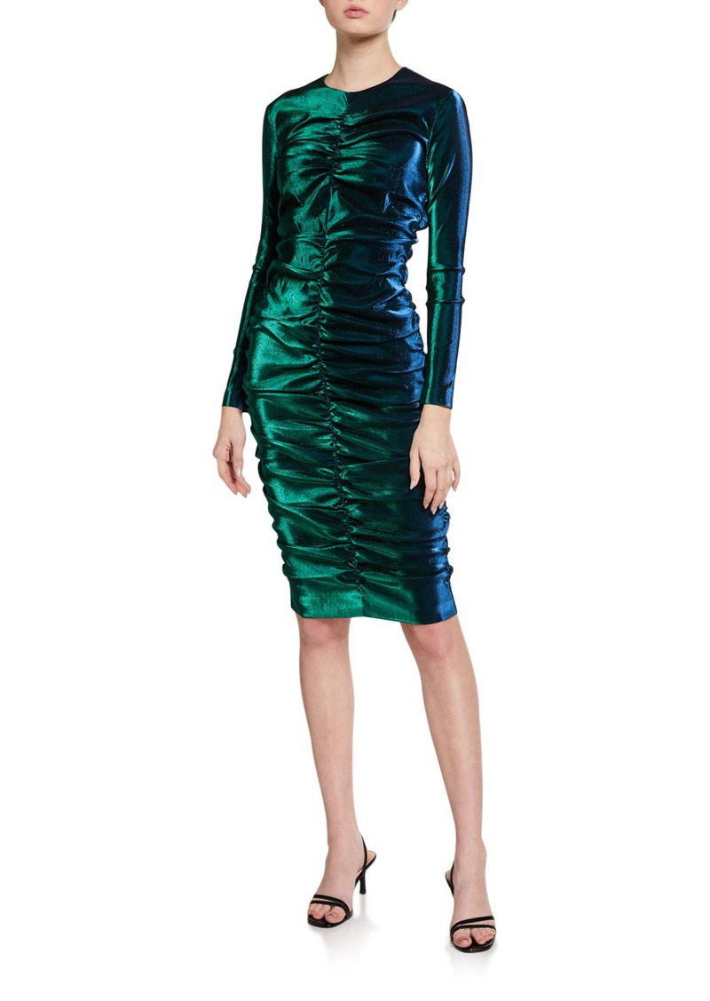 Area Iridescent Shirred Long-Sleeve Dress