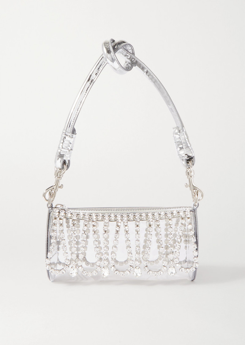 Area Leather-trimmed Crystal-embellished Pvc Shoulder Bag