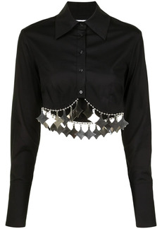 Area metal-fringed cropped shirt