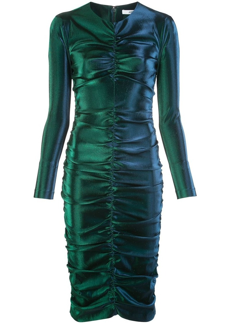 Area metallic ruched dress