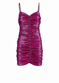 Area Metallic Ruched Mini Dress