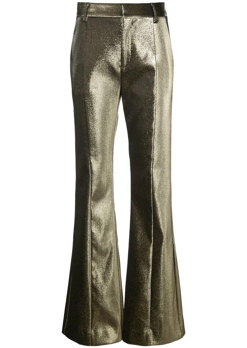 Area metallic threading flared trousers