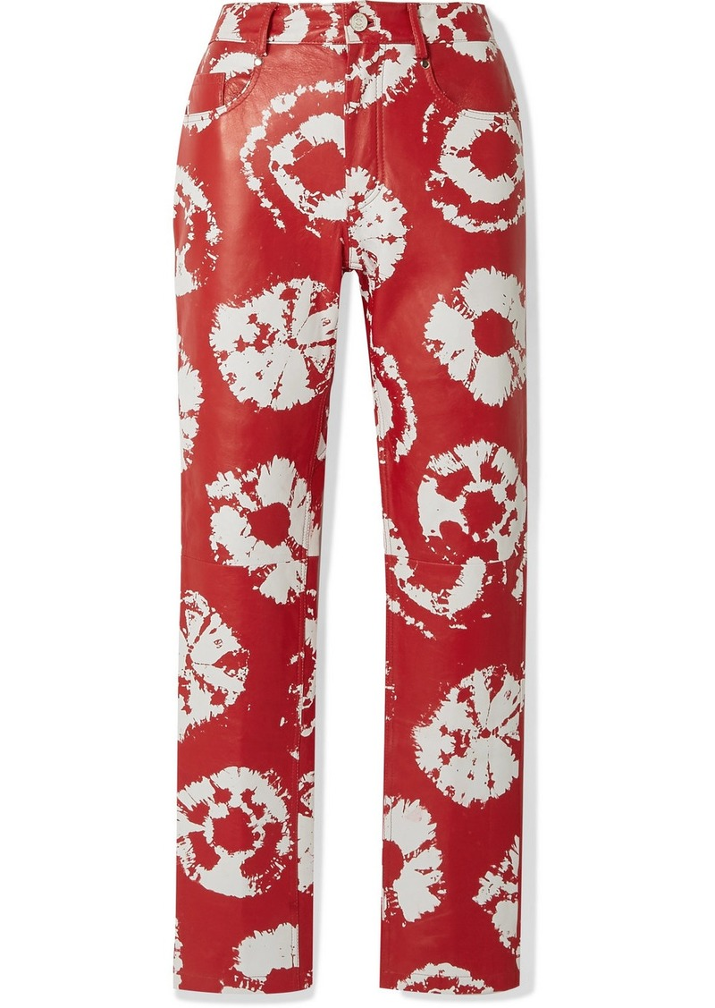 Area Printed Leather Straight-leg Pants