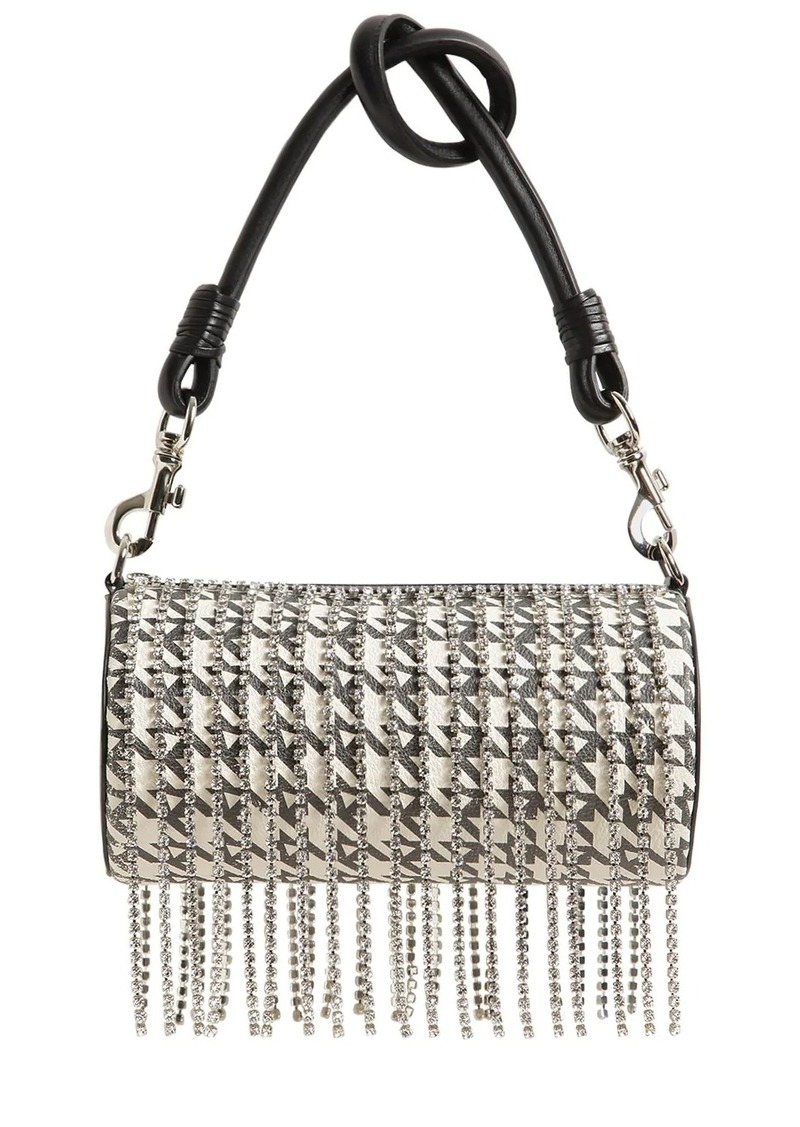 Area Roll Leather Shoulder Bag W/ Crystals