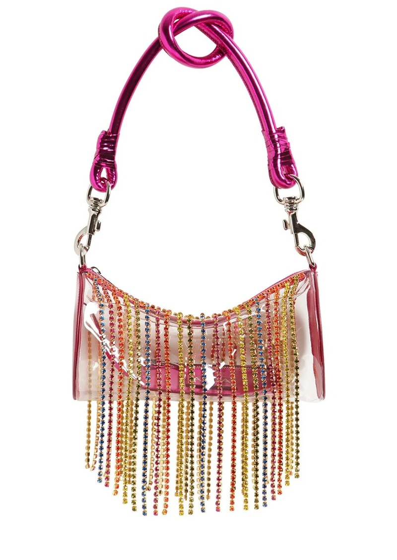 Area Roll Pvc Shoulder Bag W/ Crystals