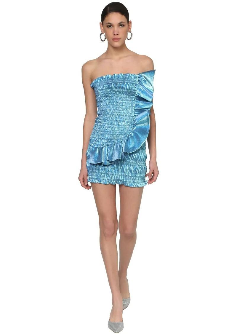 Area Ruffled Stretch Lamé Mini Dress