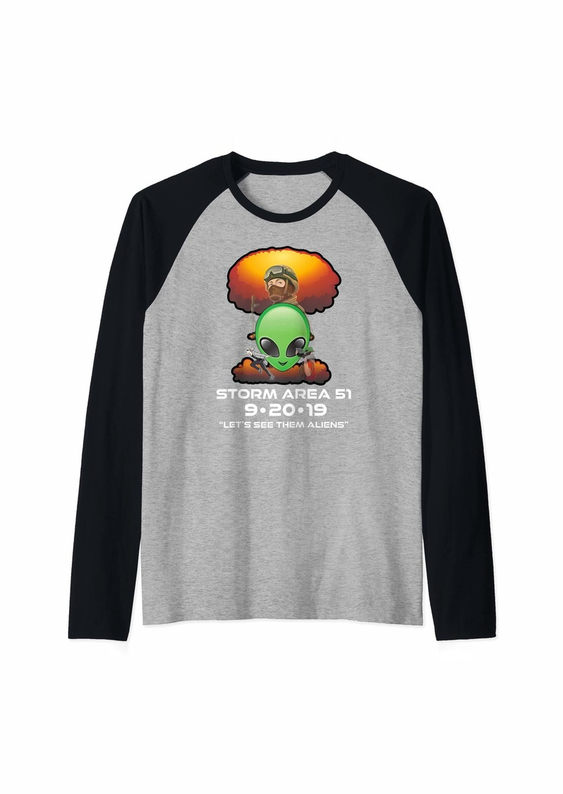 Storm Area 51 and Let's See Them Aliens Raglan Baseball Tee