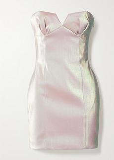 Area Strapless Iridescent Lame Mini Dress