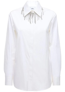 Area Stretch Cotton Shirt W/crystal Fringe