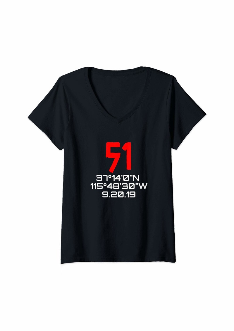 Womens Area 51 Raid GPS Coordinates Cool  V-Neck T-Shirt