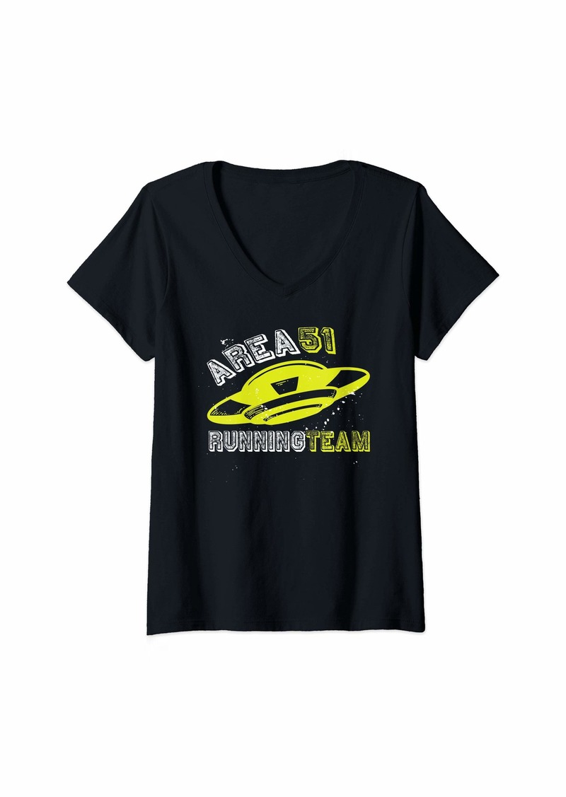 Womens Area 51 Running Team - Storm Storming Saying - UFO V-Neck T-Shirt