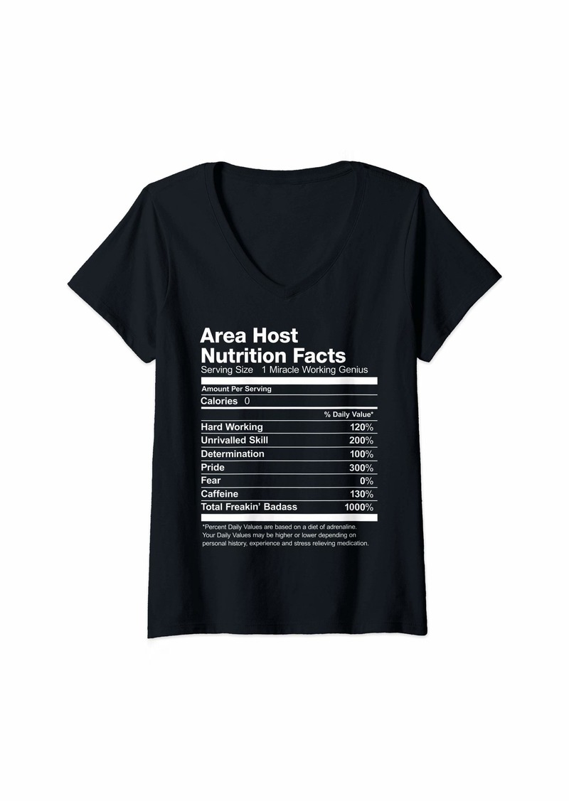 Womens Area Host Nutrition Facts Job Funny V-Neck T-Shirt