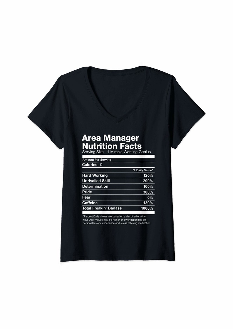 Womens Area Manager Nutrition Facts Job Funny V-Neck T-Shirt