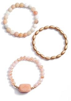 Women's Area Stars Set Of 3 Beaded Stretch Bracelet