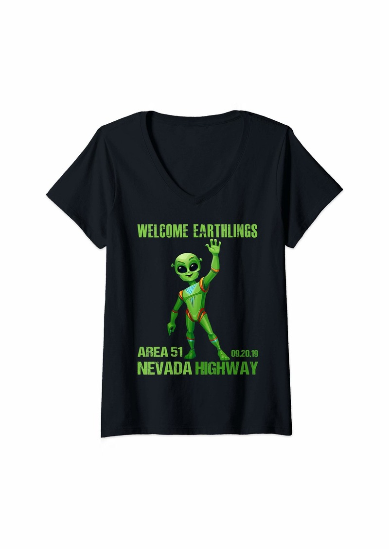 Womens Storm Area 51 Alien Welcome Earthlings To Nevada Highway V-Neck T-Shirt