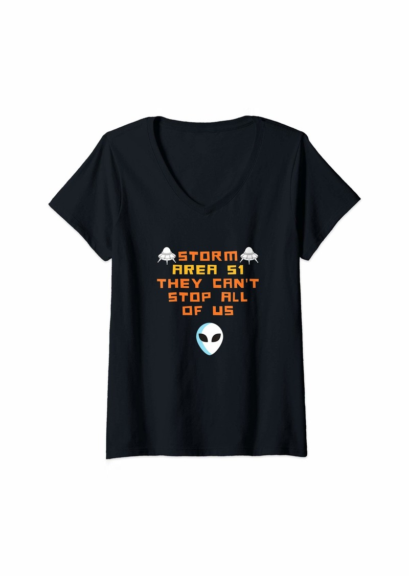 Womens Storm Area 51 Shirt They Can't Stop Us All Alien men Gift V-Neck T-Shirt