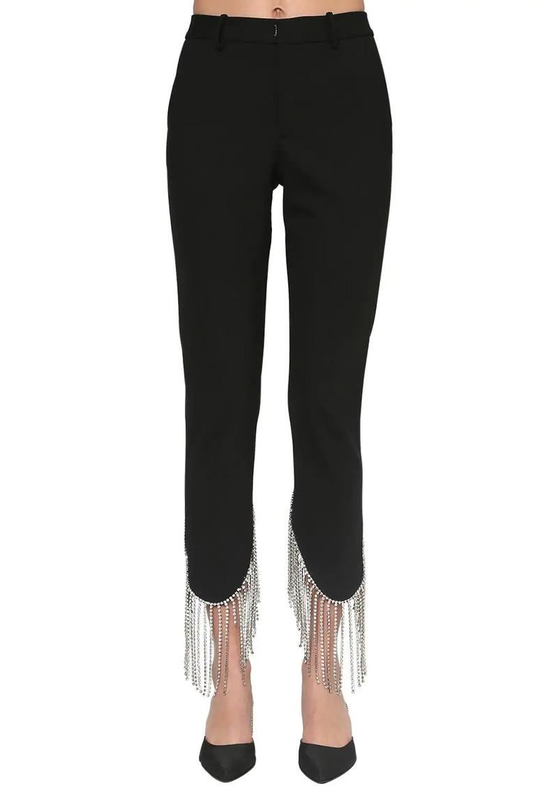 Area Wool Blend Pants W/ Crystal Fringe