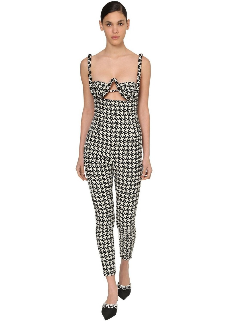 Area Wool Jacquard Houndstooth Jumpsuit