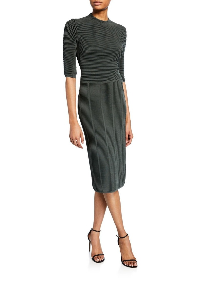 Armani 1/2-Sleeve Ottoman-Ribbed Sheath Dress