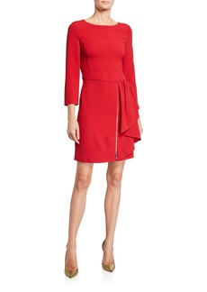Armani 3/4-Sleeve Cady Crepe Dress w/ Exposed Zipper & Side-Ruffle