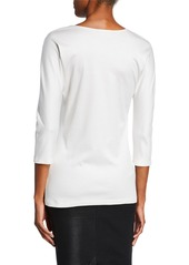 Armani 3/4-Sleeve Cotton-Silk Knit Tunic