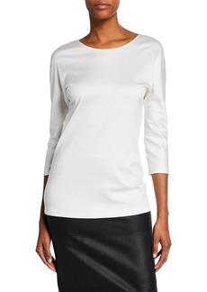 Armani 3/4-Sleeve Cotton-Silk Knit Tunic