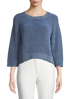 Armani 3/4-Sleeve Heathered Mesh Sweater
