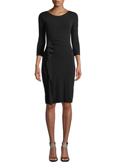 Armani 3/4-Sleeve Matte Jersey A-Line Dress w/ Ruching Detail