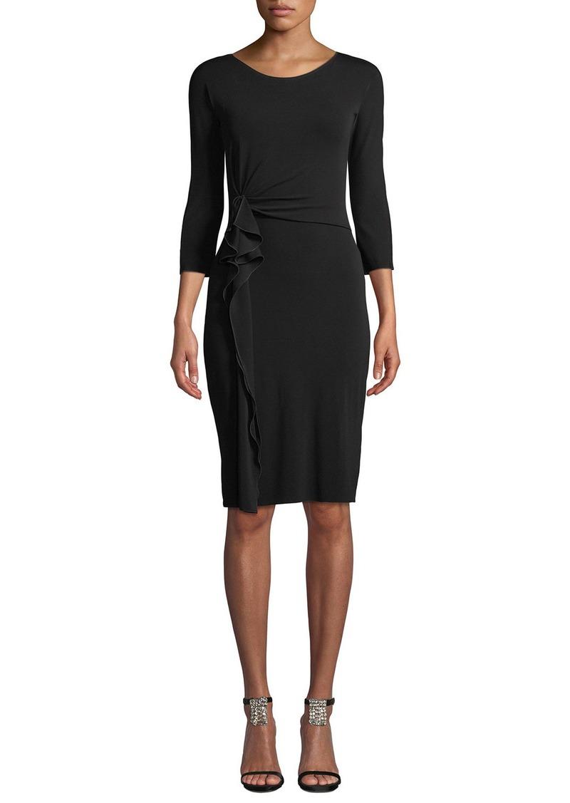 Armani 3/4-Sleeve Matte Jersey A-Line Dress w/ Ruching Detail
