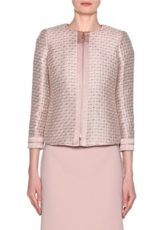 Armani 3/4-Sleeve Metallic-Jacquard Zip Front Jacket