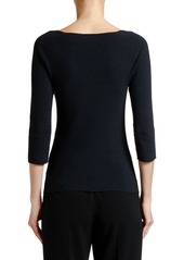 Armani 3/4-Sleeve Moss-Stitch V-Neck Sweater