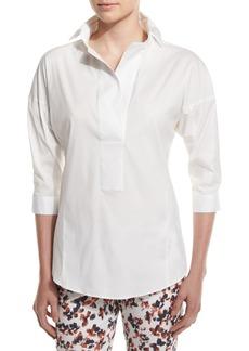 Armani 3/4-Sleeve Poplin Tunic  White