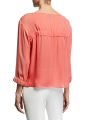 Armani 3/4-Sleeve Silk Chiffon Blouse with Elastic Detail