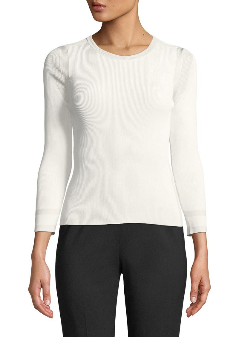 Armani 3/4-Sleeve Viscose Knit Top  White