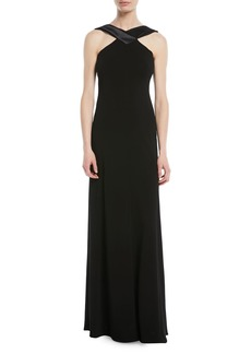 Armani A-Line Halter Jersey Evening Gown w/ Satin Trim