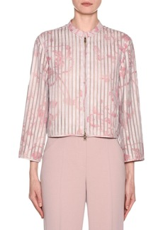Armani Abstract Floral Leather Silk Organza Jacket