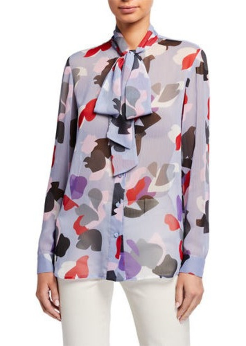 Armani Abstract Floral Pleated Crepe Tie-Neck Button-Down Blouse