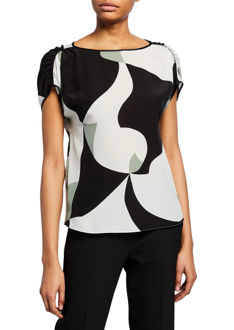 Armani Abstract-Printed Silk Cap-Sleeve Blouse