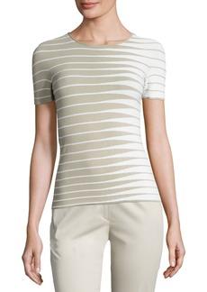 Armani Alternating-Stripe Short-Sleeve Sweater  Beige/Multi