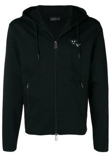 Armani angry logo zip front hoodie