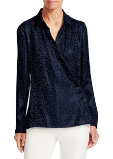 Armani Animal Jacquard Long Sleeve Silk Blouse