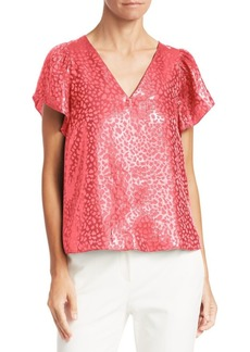 Armani Animal Print Jacquard Short Sleeve Top