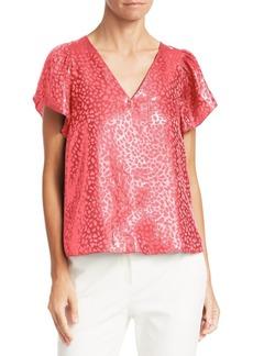Armani Animal Print Jacquard Short Sleeve Top